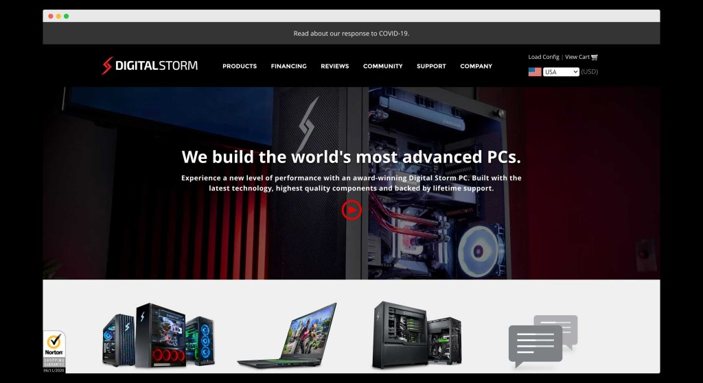 DigitalStorm, A website for pre-builts and PC customizations