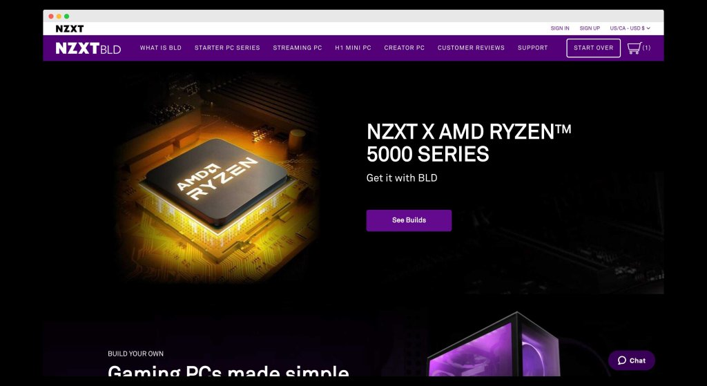 NZXT BLD, A website for building custom pc